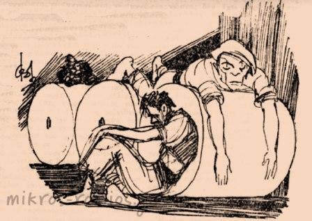 Τοξικομανείς στη στοά Πάππου. Σκίτσο Φωκίωνα Δημητριάδη.
