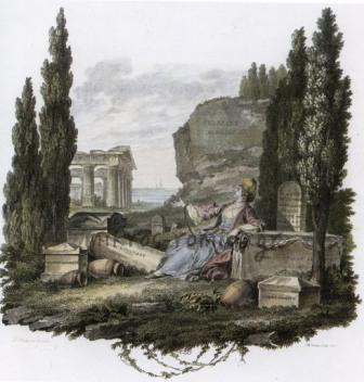 Αλληγορική σύνθεση της υπόδουλης Ελλάδος. Λιθογραφία 18ου αιώνα.