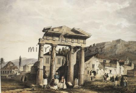 H πύλη της Προναίας Αθηνάς, λιθογραφία 19ου αιώνα, Th. d. Moncel.
