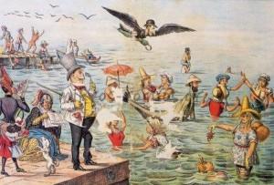 «Τα εν Φαλήρω μπάνια». Γελοιογραφία από την εφημερίδα ΑΡΙΣΤΟΦΑΝΗΣ, 1887.