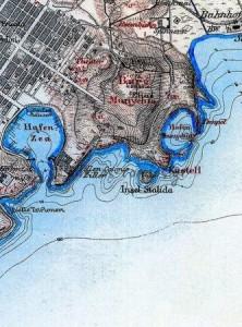 Το Πασαλιμάνι και το Τουρκολίμανο όπως τα αποτύπωσε ο Κάουπερτ το 1882.