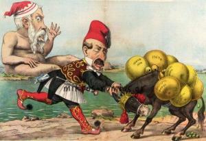 Σατιρική απεικόνιση της κατάστασης που είχε δημιουργηθεί με τους φόρους που επέβαλε ο Χαρ. Τρικούπης στη ράχη του ελληνικού λαού.